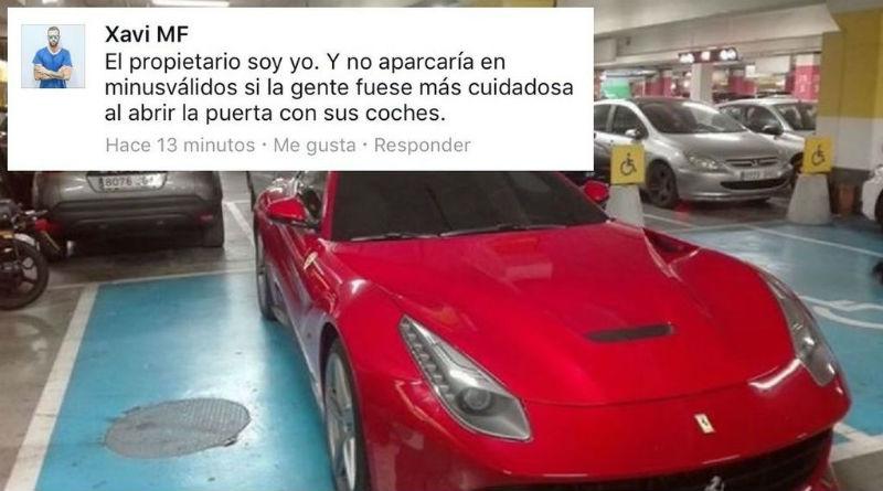 Un accionista de Hawkers utiliza la zona de discapacitados para aparcar su Ferrari