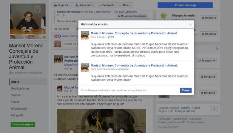 Historial de ediciones del Facebook de Marisol Moreno