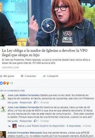 Discusión en Facebook de Antonio Fernández Valenzuela y José Luis Valdés
