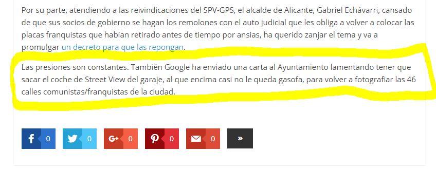 Google se queja de los cambios de calles en Alicante