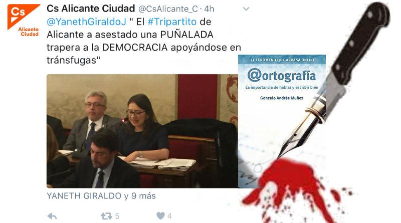 Ciudadanos Alicante le da una puñalada trapera a la ortografía