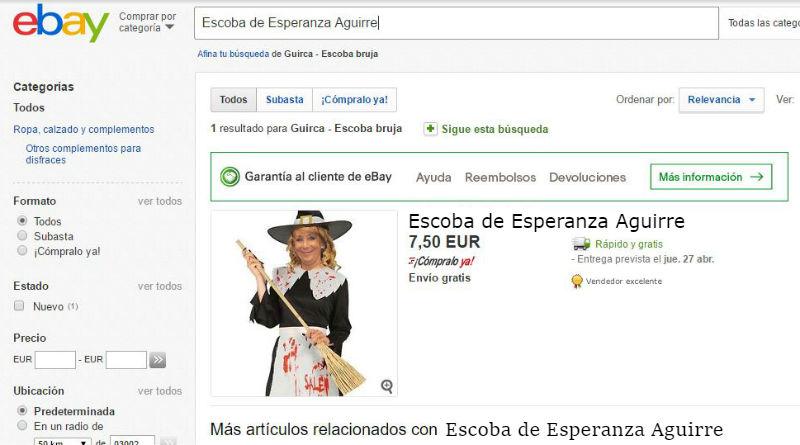 La escoba voladora de Esperanza Aguirre, a la venta en eBay tras su dimisión