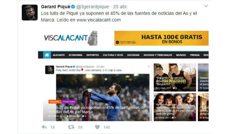 Los tuits de Piqué ya suponen el 45% de las fuentes de noticias del As y el Marca