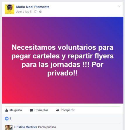 Voluntarios para pegar carteles en Alicante