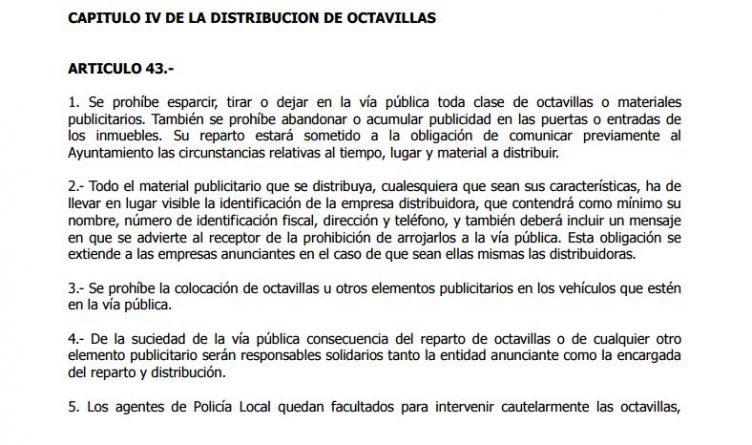 Normativa sobre reparto de octavillas en Alicante