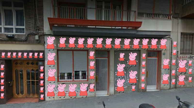 La sede de la Falange en Alicante amanece llena de dibujos de Peppa Pig