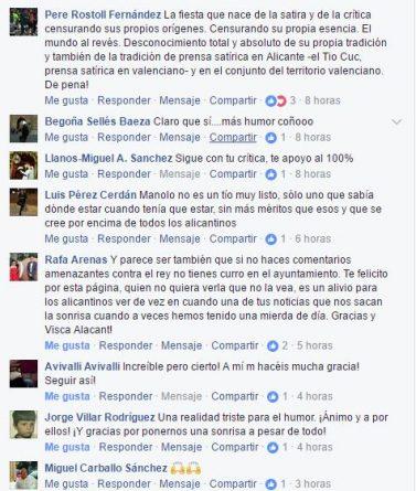 Reacciones en Facebook a la petición de rectificación de las Hogueras a nuestras noticias satíricas