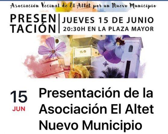 Presentación de la Asociación El Altet Nuevo Municipio