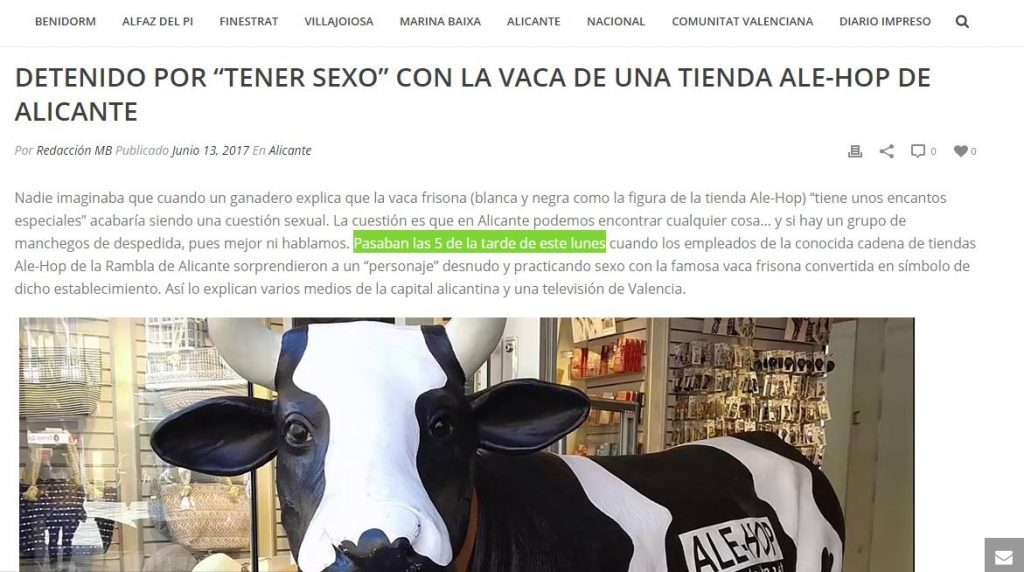 Texto de la noticia de la vaca en MB Noticias