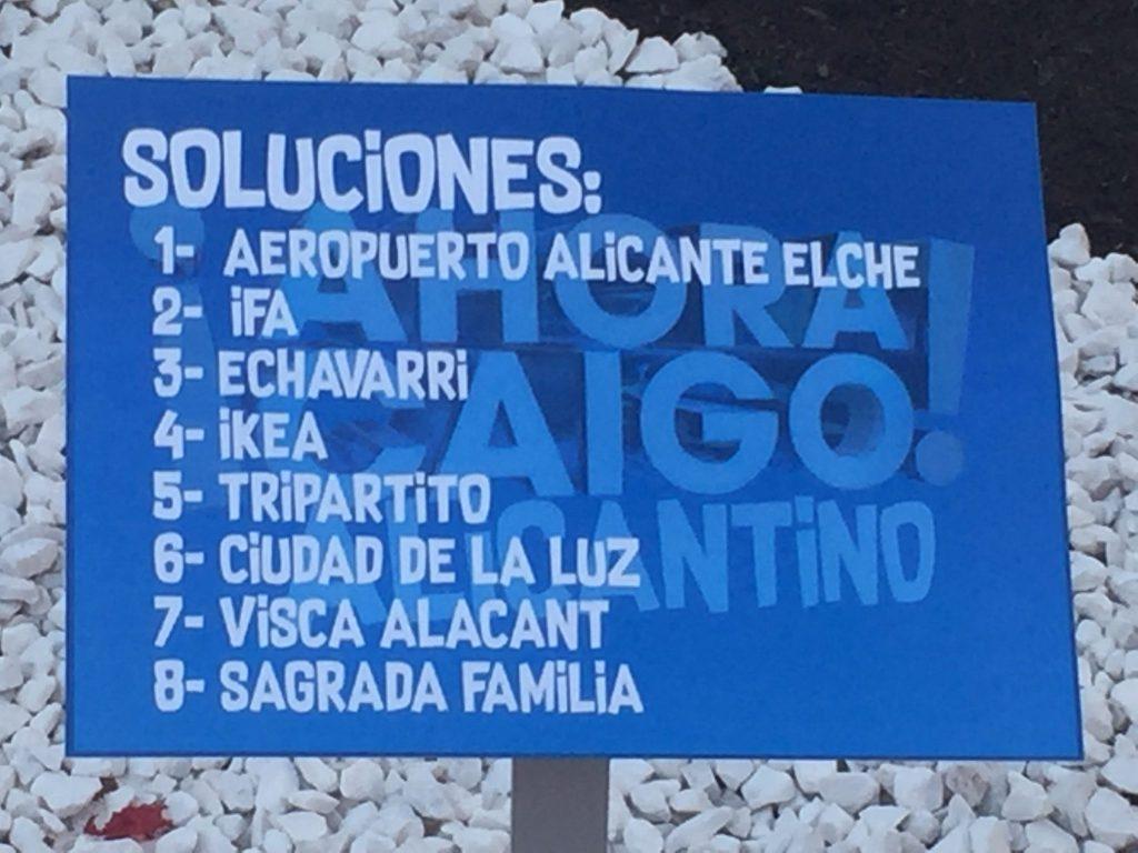 Las soluciones del Ahora Caigo Alicantino de la Hoguera Sagrada Familia