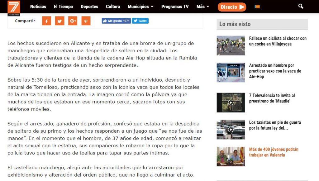 Texto de la noticia de la vaca en 7 TeleValencia