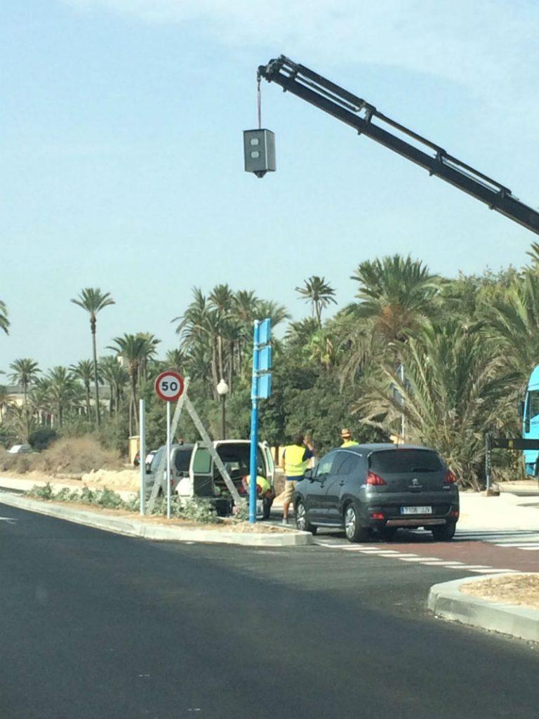 La cámara enfocando hacia la playa de San Gabriel
