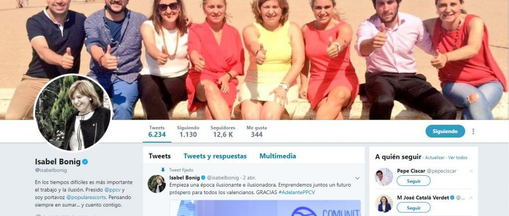 La cuenta de Twitter de Isabel Bonig