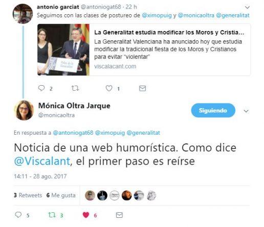 """Mónica Oltra le da un elegante """"zasca"""" a un tuitero que dio por cierta nuestra noticia de humor"""