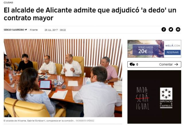 "Echávarri admite que adjudicó ""a dedo"" un contrato mayor"