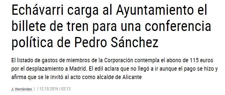 Echávarri carga al Ayuntamiento un billete de tren para ir a una conferencia de Pedro Sánchez
