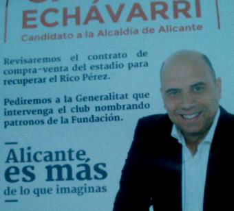 Cartel electoral de Gabriel Echávarri sobre el Hércules