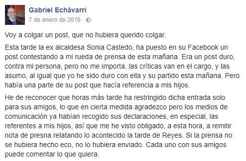 Comunicado de Echávarri en Facebook sobre Castedo