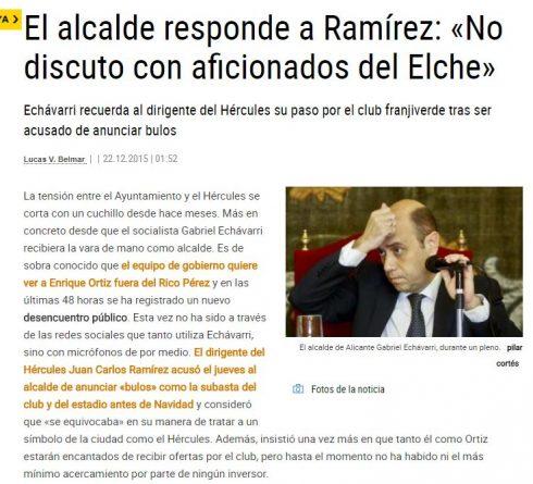 Echávarri considera a Ramírez un aficionado del Elche
