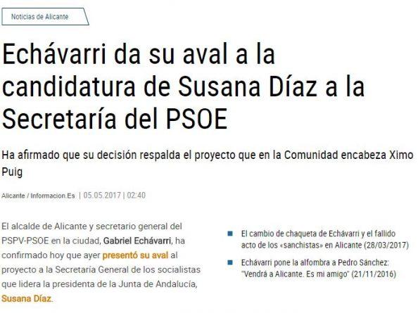 Echávarri avala a Susana Díaz