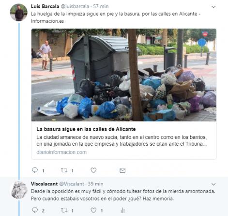 Cruce de mensajes en Twitter entre Viscalacant y Luis Barcala