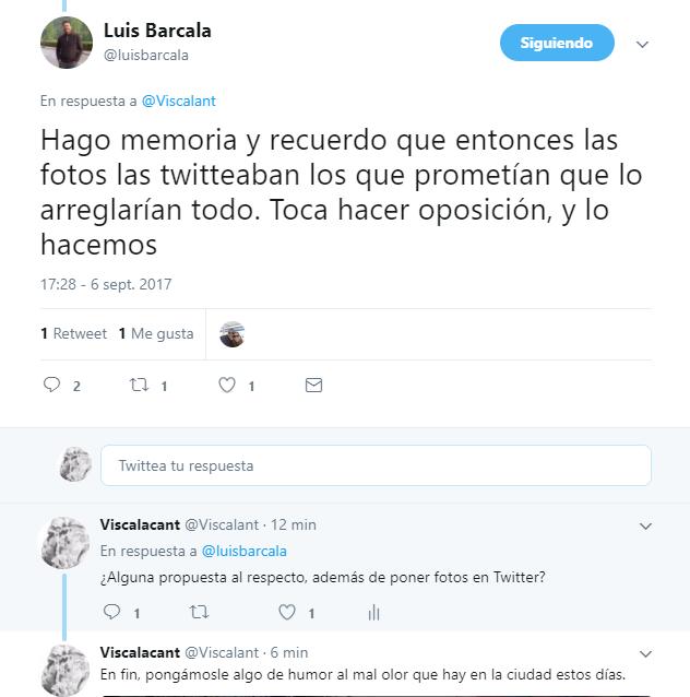 Twitter entre Viscalacant y Luis Barcala
