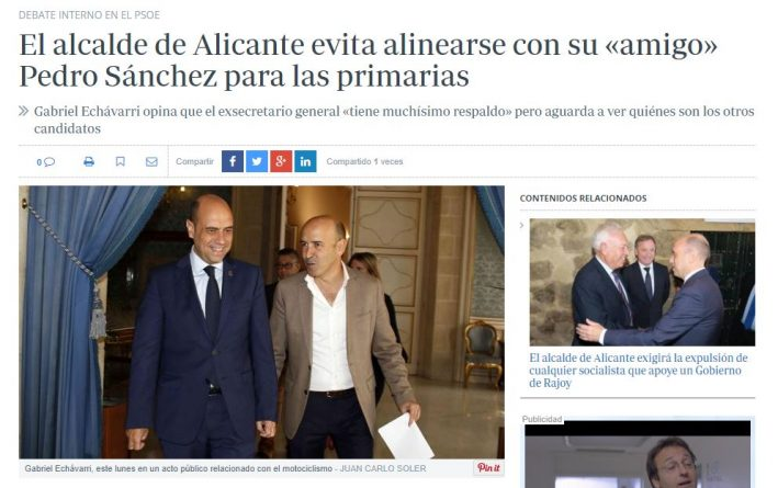 Echávarri olvida su amistad con Pedro Sánchez