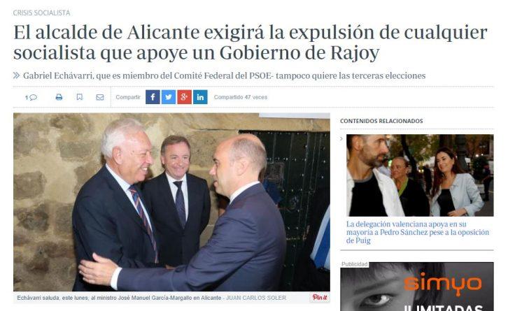 Amenaza con exigir la dimisión de los socialistas que apoyen un gobierno de Rajoy