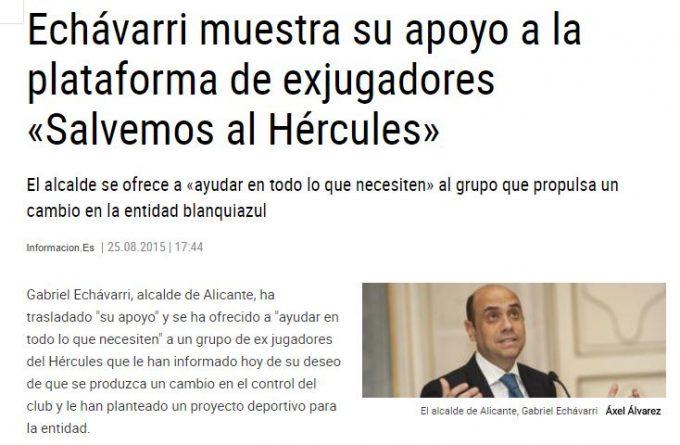 """Echávarri quiere """"salvar"""" al Hércules de Ortiz"""
