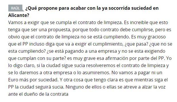 Echávarri habla de la suciedad de Alicante en un chat de La Verdad
