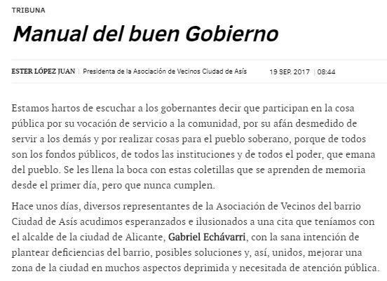 Una carta muy crítica contra Echávarri de la presidenta de una asociación vecinal de Alicante