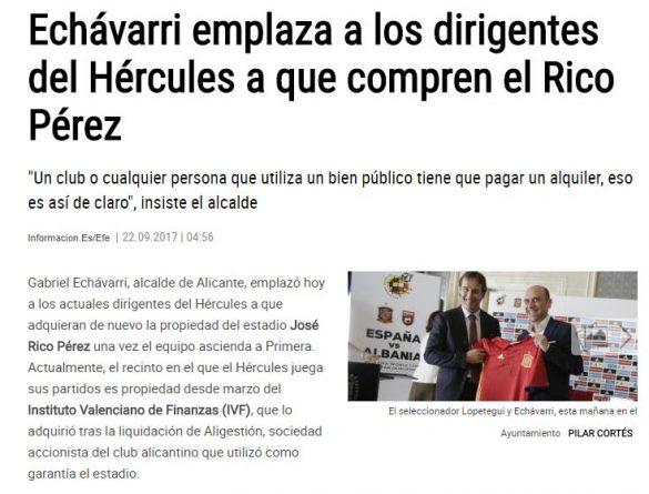 Echávarri quiere que Ortiz y Ramírez compren el Rico Pérez