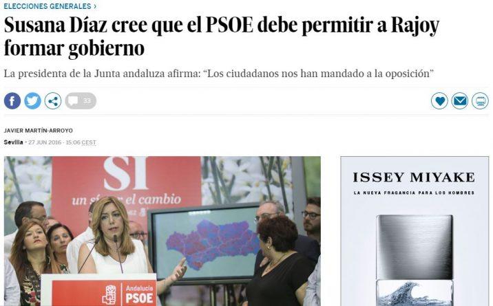 Echávarri no exigió la dimisión a Susana Díaz por pedir que se permitiera formar gobierno a Rajoy