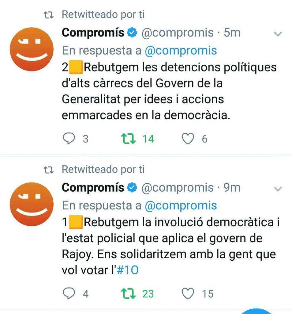 Tuits de Compromís que fueron borrados a los minutos de ser publicados
