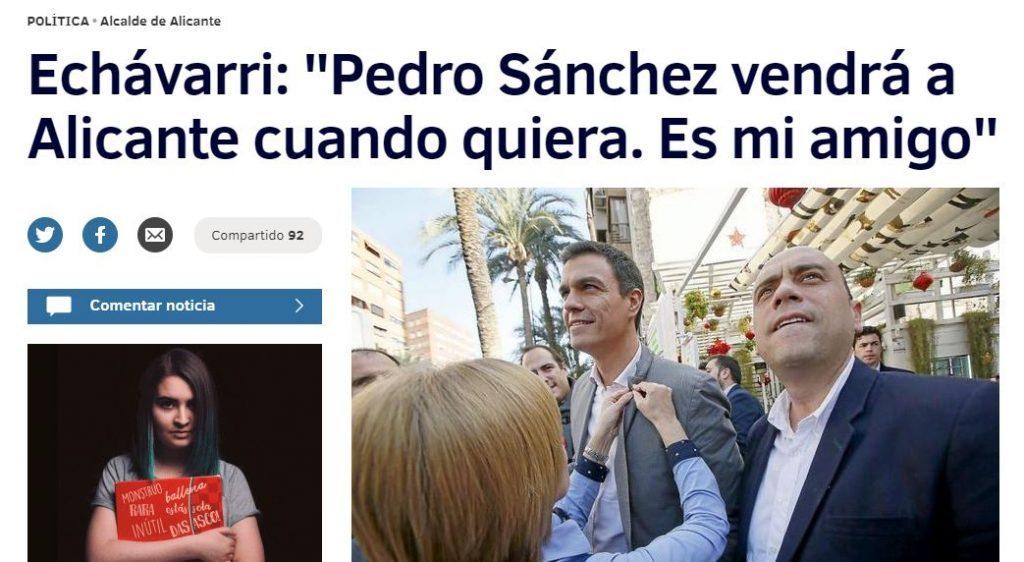 Echávarri presume de amistad con Pedro Sánchez