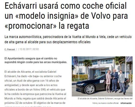 "Echávarri usa un Volvo como coche oficial para ""promocionar"" la regata"