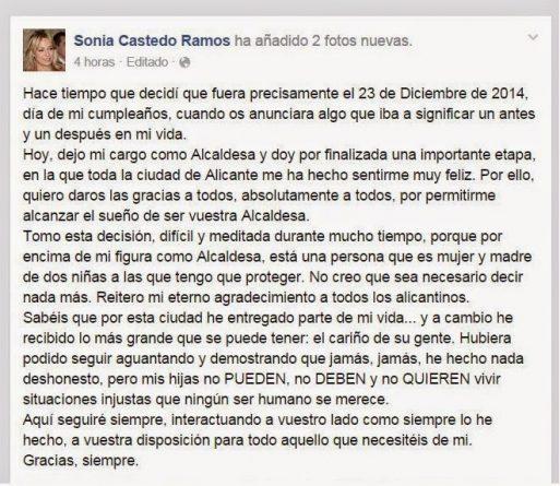 texto de la dimisión de Sonia Castedo en Facebook