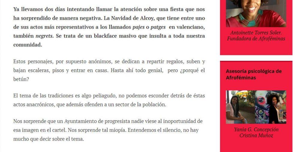 Rita Bosaho polémica Alcoy pajes negros
