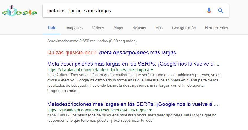 Google muestra este mismo post con dos meta descripciones diferentes para una misma búsqueda