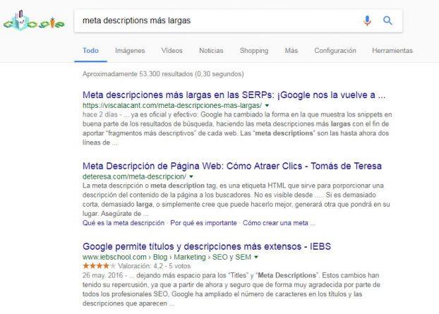 Google a la hora de escoger las metadescripciones busca coincidencias semánticas lo más exactas posible entre la búsqueda del usuario y el contenido de los resultados que muestra