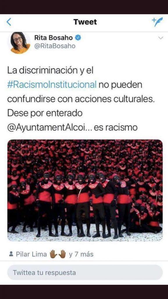 El mensaje en Twitter de Rita Bosaho sobre el racismo institucional del Ayuntamiento de Alcoy