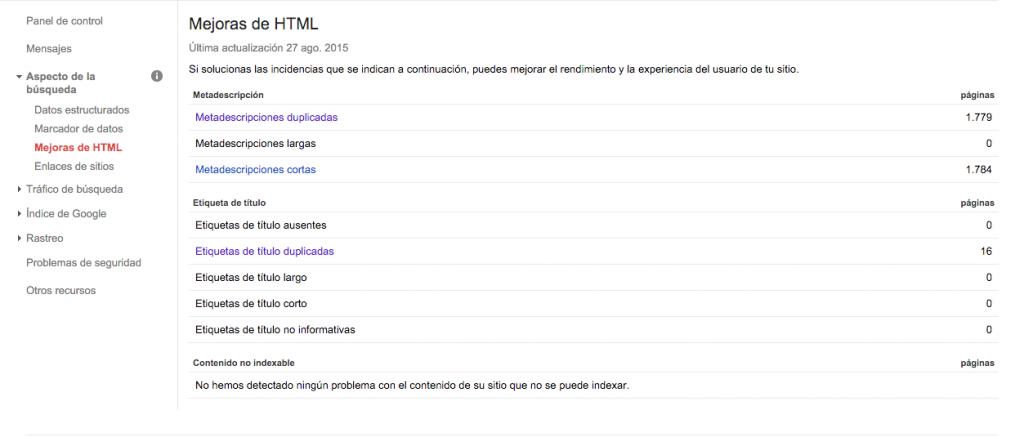 Mejoras de html en Search Console para evitar meta descripciones cortas o largas