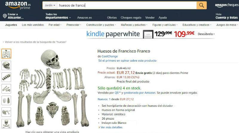 réplicas de los huesos de Franco en Amazon