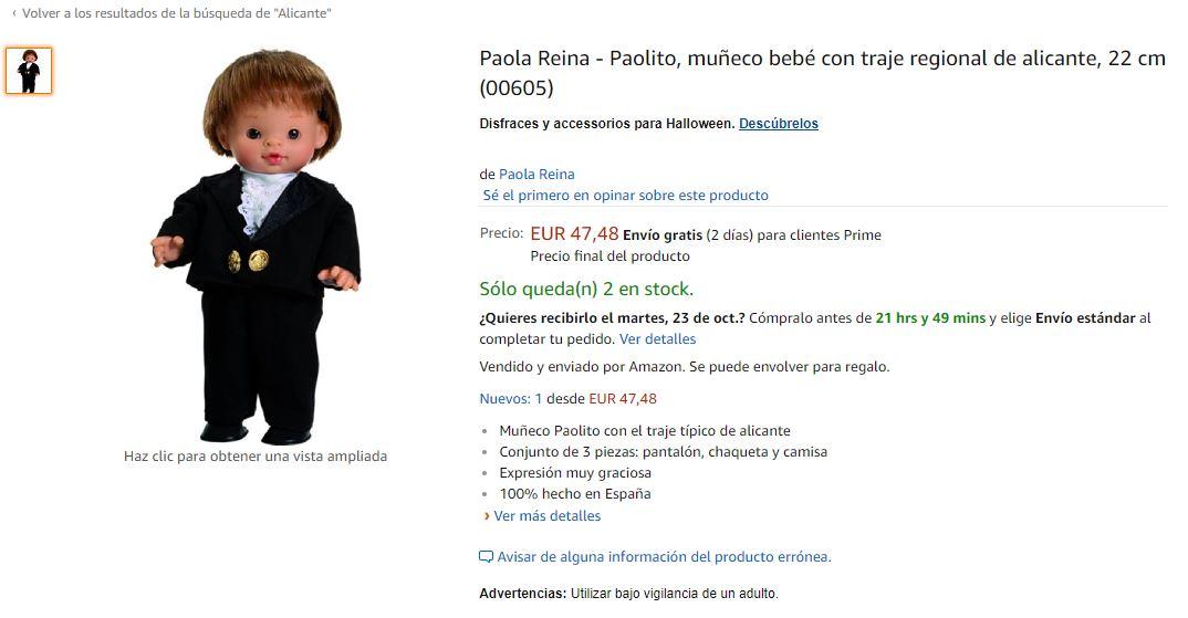 Muñeco Chucky disfrazado de alicantino