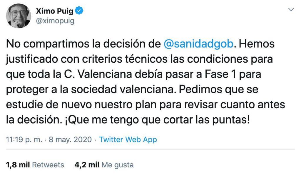 tuit de Ximo Puig fase 0